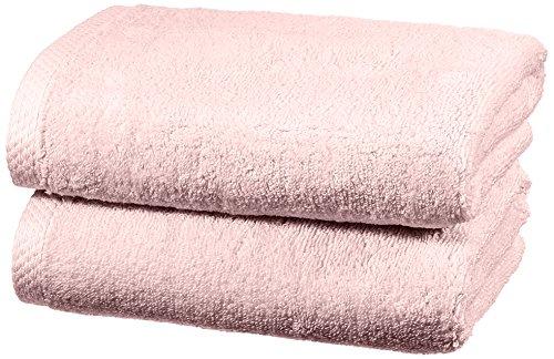 Amazon Basics - Juego de 2 toallas de secado rápido, 2 toallas de mano - Rosa claro