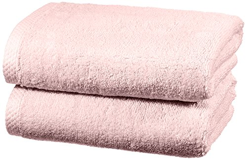 AmazonBasics - Juego de 2 toallas de secado rápido, 2 toallas de mano - Rosa claro