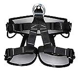 YYQQ Arnés de Escalada Proteger Pierna Cintura Más Seguro,Cinturones de Seguridad para Mujer y Hombre para Montañismo Alpinismo Expedición Escalada en Roca,Negro