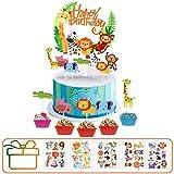Hook Cake Topper Decorazioni Torta Compleanno Torte, Animali Giungla Cupcake Topper per Ba...