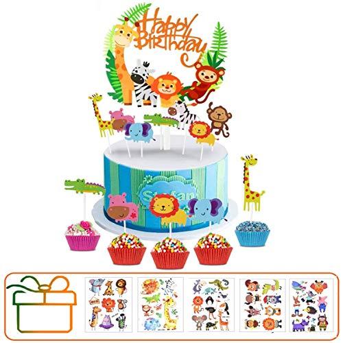Hook Tortendeko Geburtstag Dschungel Kuchen Tiere Cake Topper(35 Stück) + Happy Birthday Dschungel Girlande für Kinder Junge Mädchen + 10pcs Tier Tattoos.