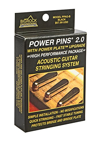 Power Pins 2.0 - Black Chrome Set with Power Plate Upgrade- Patented Bridge Pin System for Acoustic Guitars- Improved Tone, Amplified Sound, Easier Restringing, and Faster Tuning