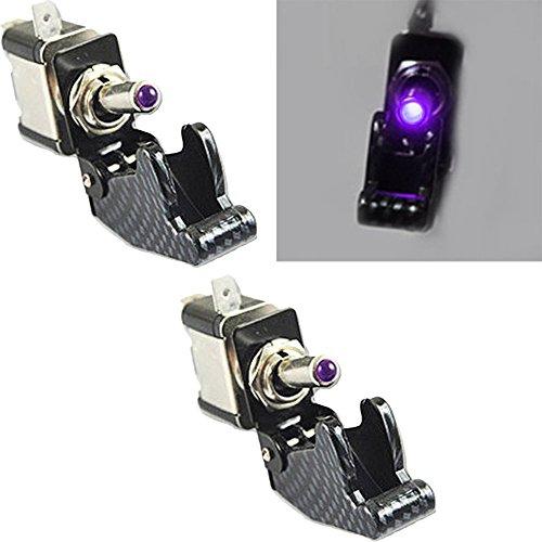 Mintice™ 2 X Interrupteur Commutateur à Bascule Levier SPST ON/OFF Couvercle Fibre Carbon Violet Lumière LED 20A 12V pour Voiture Camion Bateau Moto