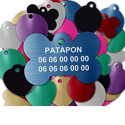 Gravure Concept Médaille pour Chien Et Chat À Personnaliser – Médaillon Gravé 31 mm - 1 à 3 Lignes – 8 Couleurs Disponibles (Bleu, Os)