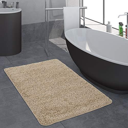 Paco Home Badezimmer Teppich Einfarbig Hochflor rutschfest In Versch. Größen u. Farben, Grösse:80x150 cm, Farbe:Beige