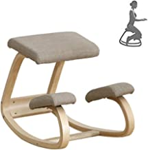 Rocking Kneeling Chair, Ergonomic Kneeling Chair Natural Lacquered Wood Correcting Posture for Body Shaping and Relieving ...