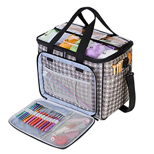 Teamoy Knitting Bag, Yarn Tote Organizer with Inner Divider (Sewn to Bottom) for Crochet Hooks,...