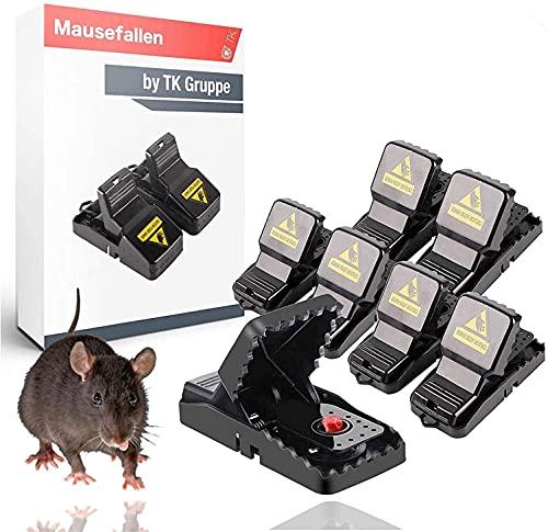 TK Gruppe Timo Klingler 6X Mausefalle Schlagfalle wiederverwendbar Falle für Maus, Ratte - Mäusefalle - Rattenfalle für Haus & Garten (6X)