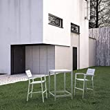 Modway Maine Aluminum 3-Piece Outdoor Patio Dining Bistro Pub Set with 28' Bar Table and Two Bar Stools in White Light Gray