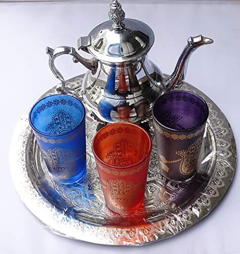 juego de te ; arabe 3 vasos de cristal,1 tetera, 1 bandeja repujada de 25 cm de diametro