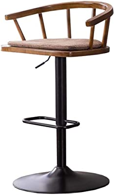 Antique European Style 60-80cm Height Adjustable Swivel Bar Chair Stool Iron Art Soft Cushion High Footstool Rotatable Backrest Bar Furniture
