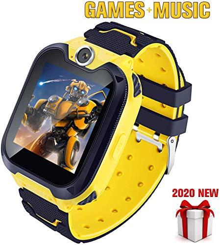 Smartwatch voor kinderen Phone-Boy Girl Music Smartwatch Kinderen kijken Grappige games HD Touchscreen Sport Kijkoproep Camera Wekker Muziekspeler, 2-12 jaar,Yellow
