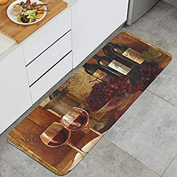 AOKAN Farmhouse Wine Painting Art Printed Kitchen Rugs Set Cushioned Comfort Mat for Living Room Doormat Rug