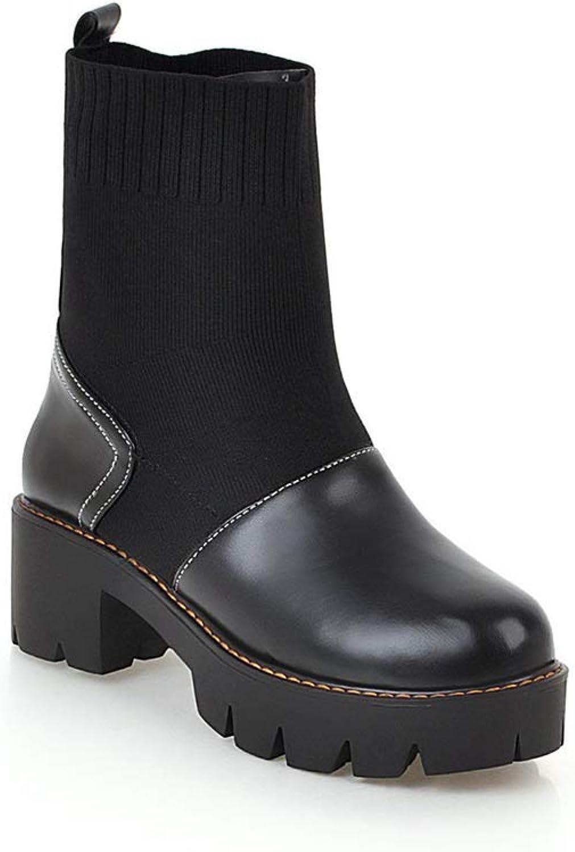 Btrada Women's Comfortable Round Head Martens Boots Block Heel Ankle Boots Non-Slip Wedges shoes Booties