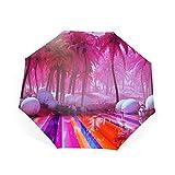 折りたたみ傘 自動開閉 折り畳み傘 8本骨 ワンタッチ オレンジ色の抽象的な円のジオメトリ 傘 かさ メンズ レディース 耐風傘 撥水性 丈夫 大きい 晴雨兼用 雨具
