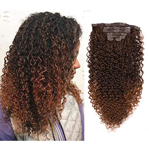 "24"" Clip in on Hair Extensions Afro Kinky Curly 7 Pieces Thick Full Head for Black Women 140gram MT4/30#"