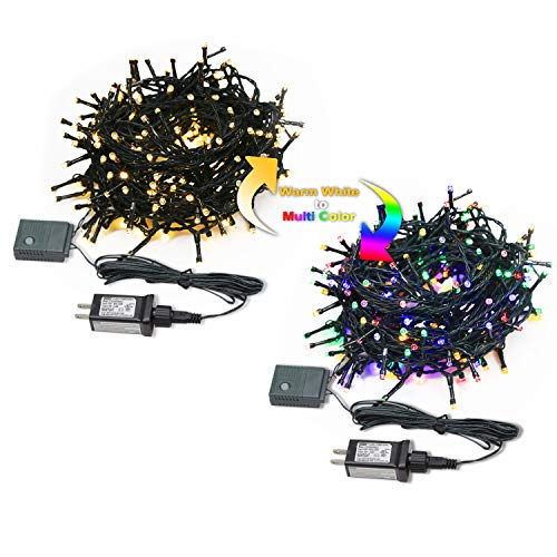 MYEMITTING LED String Lights 80 feet 200 LEDs Super Bright Fairy Lights Waterproof Indoor/Outdoor Decorative Lights for Christmas Tree Party Patio Wedding Bedroom, Plug in Warm Color+4 Color