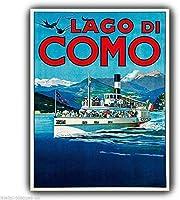 ナンシーグレートティンサインコモ湖イタリアヴィンテージアドバー画像アルミ金属サイン壁の装飾