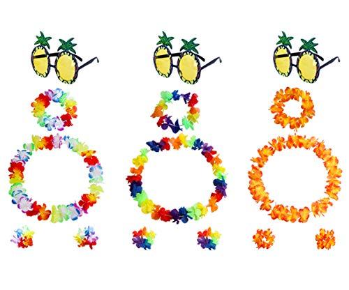 3 juegos de collar de flores hawaianas + gafas de sol de piña + pulseras con diadema, accesorios de cumpleaños tropicales para accesorios de fiesta en la playa, accesorios para fotomatón