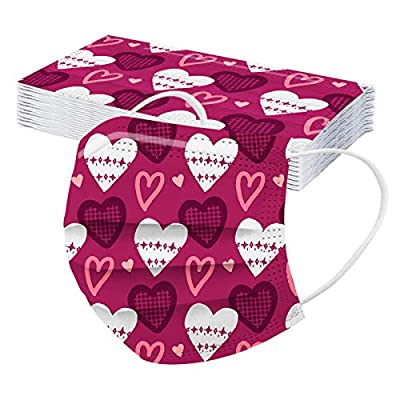 20/40 PCS Valentines Day Face_Masks for Adults Disposable Breathable Face Coverings Bandanas Face_Mask, Valentines Day Gifts for Women Anti-Dust Safety Protection with Earloop & Nose Bridge