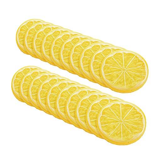 LACKINGONE - Discos de limón artificiales de decoración para el hogar, decoración de frutas artificiales, amarillo (10 unidades) (20 unidades)