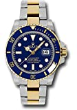 Rolex Oyster Perpetual 40MM Stainless Steel & 18K Yellow Gold Submariner Date with a Blue Cerachrom and Rotatable Bezel and a Blue Index Dial.