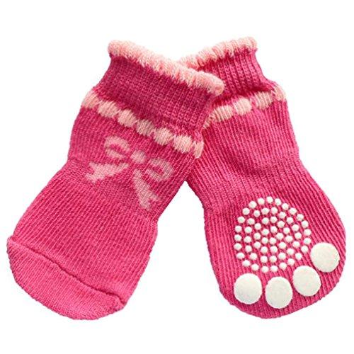 jj Store 4pz Pet calzini per cani Bowknot calze antiscivolo per interni Wear protezioni antiscivolo Paw