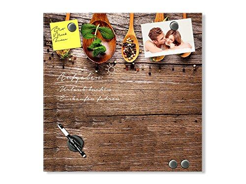 GRAZDesign Magnettafel aus Glas mit Kräuter Motiv, Schreibtafel Notiztafel Küche Löffel mit Gewürzen / 30x30cm