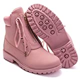 DADAWEN Women's Round Toe Waterproof Ankle Bootie Lace Up Low Heel Work Combat Boots Pink US Size 11
