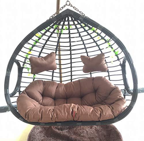 Afjyar Bird's Nest Silla Colgante Cesta Doble Colgante Silla de Mimbre Balcón Silla Mecedora para Adultos Columpio Hamaca doméstica Perezosa Silla de Cuna de Interior