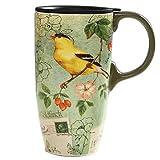 coffee cup bird - CEDAR HOME Coffee Ceramic Mug Porcelain Latte Tea Cup With Lid in Gift Box 17oz. Yellow Song Bird