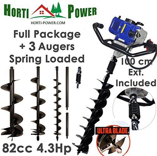 Professionelle Erdlochbohrer Post Pole Borer 82 CC 3 Bohrer 100 200 300 UltraSharp Bits mit Extensions und Sprungfeder