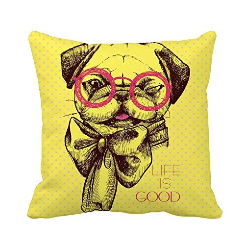Throw Pillow Cover Creative Pug Dog Gafas intelectuales y Lazo en la Funda de Almohada Funda de Almohada Cuadrada Decorativa para el hogar Funda de cojín