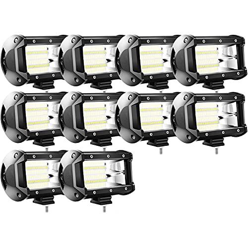 SWANEW LED Arbeitsscheinwerfer, 10 X 72W LED Offroad Zusatzscheinwerfer 12V Scheinwerfer IP67 Wasserdicht Rückfahrscheinwerfer für Trecker KFZ Bagger SUV, UTV, ATV, 6000K-6500K