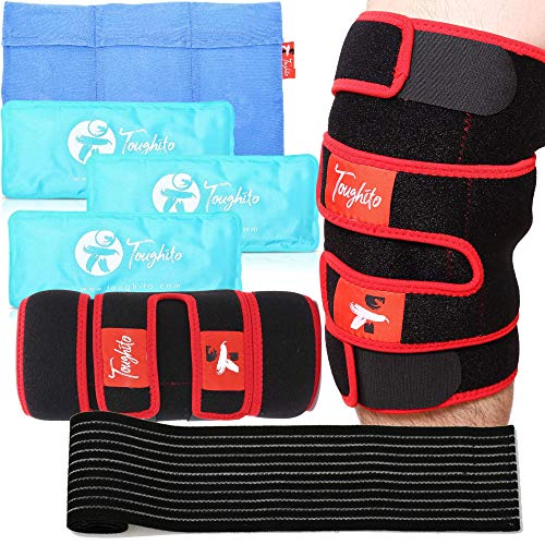 TOUGHITO Knee Ice Pack Wrap - 4 in 1 Knee Pain Relief Brace for Joint Pain, Bursitis Pain Relief, Knee Injury, Arthritis, Meniscus Tear, ACL, Sprains & Swelling - Plus Ice Pack Sleeve & Strap