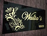 Aarushi Creations Personalised Home/Door Name Plate Black with Golden Mirror Shine Acrylic Embossed Letters, Laser Cut (16 x 6 inch)