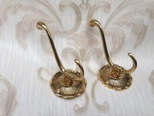 Messing 2 x Wandhaken Garderobenhaken Kleiderhaken Antik Haken Gold Jugendstil