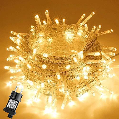 Guirnalda Luminosa Exterior Impermeable, GlobaLink 10M 100LEDs Luz Navidad Interior LED Cadena de Luces, 8 Modos de Luz, Función Memoria para Decoración Navidad Árbol Boda Casa Jardín-Blanco Cálido