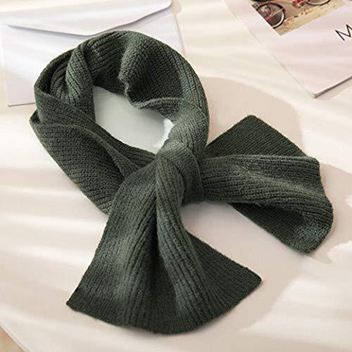 Roshow Babero Invierno Femenino versión Coreana Marea Salvaje ins Dulce y Lindo Color Puro Cruz Decorativa Cuello de Punto de Lana cuello-187# -Verde Oscuro
