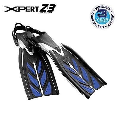 TUSA SF-15 X-Pert Zoom Z3 Open Heel Scuba Diving Fins, Medium, Cobalt Blue