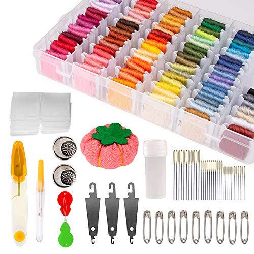 Hilo de bordar, Winzwon 100 Madejas Bordado Hilos de Aleatorio Colores Algodón Bordado Kit para Costura Hilo de Costura para Pulseras de la Amistad, para Manualidades
