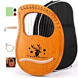 ETE ETMATE 16-String Lyre Harp, Harp Instruments Ancient Style, Handheld Lyre Harp Musical instrument with Tuning Wrench Black Gig Bag, for Music Lover Children Adult