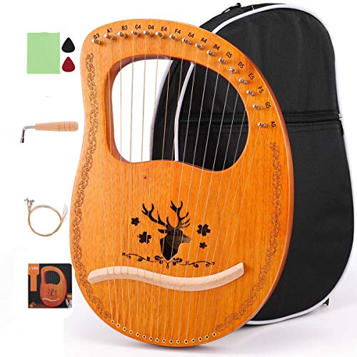 ETE ETMATE 16String Lyre Harp Mahogany Ancient Style Lyre Handheld Harp Musical instrument with Tuning Wrench Black Gig Bag for Music Lover Children Adult
