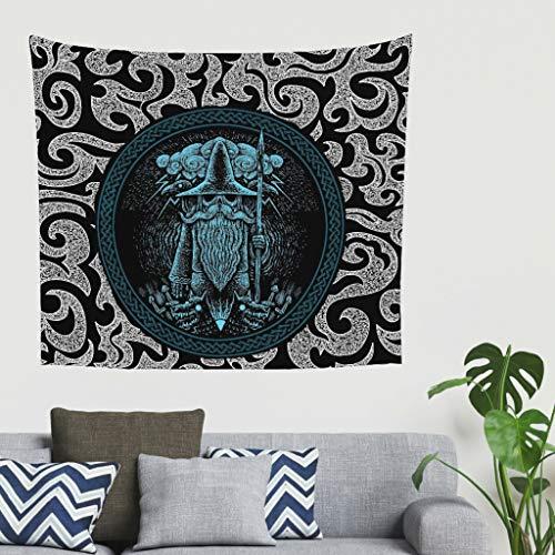 Tapiz de pared con diseño de cuervos de Odin vikingos, tapiz, estilo bohemio, decoración de pared, decoración india para la pared, toalla de playa o para el hogar 100 x 150 cm blanco