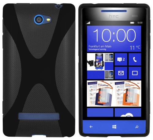mumbi Hülle kompatibel mit HTC Windows Phone 8S Handy Case Handyhülle, schwarz