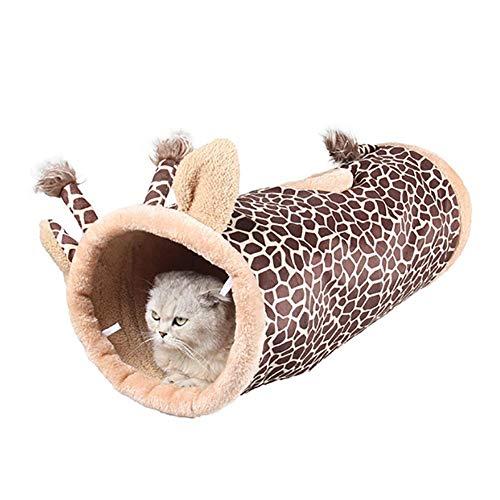 Unbekannt PER Plüsch Tier Katze Spielen Tunnel Faltbare Spielen Spielzeug mit Glocke für Indoor Outdoor Kaninchen Kätzchen Welpen
