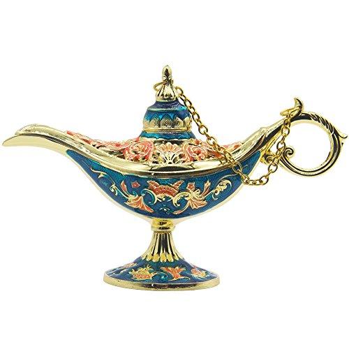 AVESON Aladdin Lampe Deko, Genie Licht Lampe Aladdin Wunderlampe Licht Magie Genie Licht Hohle Legende Lampe Klein Luxusausführung Vintage-Stil Sammlerstück Geschenk (Gold & Blau)