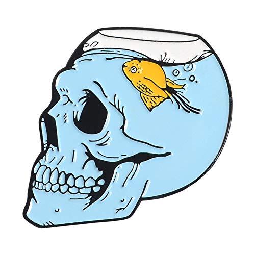 HSQSC Broschen Anstecknadeln Ihr Leben Sanduhr Emaille Pin Ghost Skeleton Aquarium Schädel Abzeichen Brosche Tasche Jeanshemd Anstecknadel