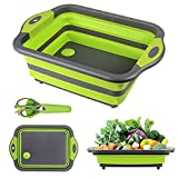 Collapsible Cutting Board,HI NINGER Foldable Chopping Board with Multifunction Scissors,Space Saving 3 in1Multifunction Storage Basket, Collapsable Sink for Camping, Picnic, BBQ, Kitchen(Green)