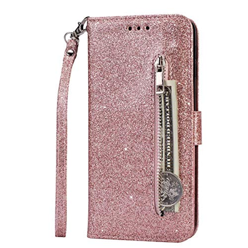 Funda para iPhone 13, 3D Flip Bling Glitter a prueba de golpes con cremallera Wallet Phone Cases Folio PU Funda protectora magnética de cuero con soporte ranuras para tarjetas para iPhone 13 Oro rosa